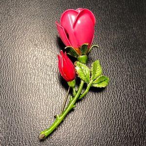 Retro Vintage Enamel Red Roses Brooch Pin